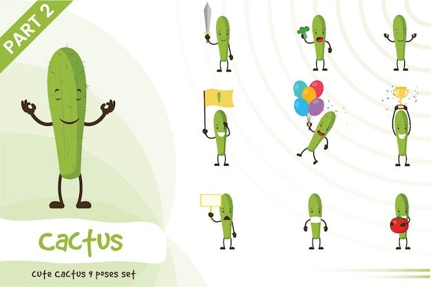 Ilustração dos desenhos animados do conjunto de cactos fofos Vetor Premium