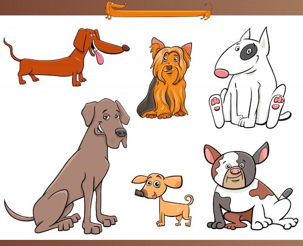 Ilustração dos desenhos animados do conjunto de cães de raça pura