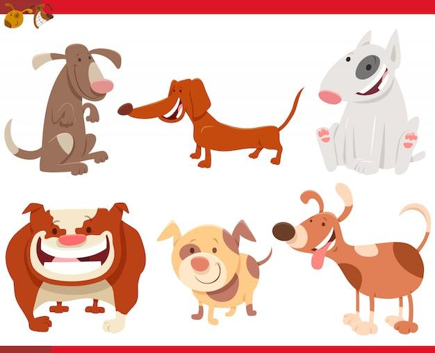 Ilustração dos desenhos animados do conjunto de caracteres de cães engraçados
