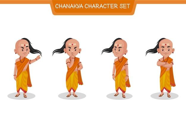 Ilustração dos desenhos animados do conjunto de caracteres de chanakya