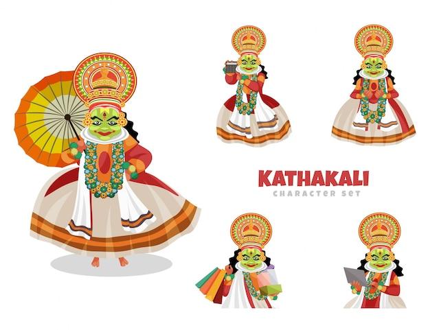 Ilustração dos desenhos animados do conjunto de caracteres de kathakali