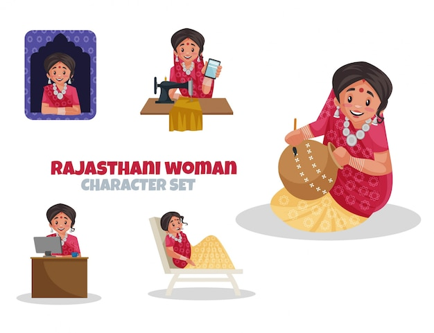 Ilustração dos desenhos animados do conjunto de caracteres de mulher do rajastão