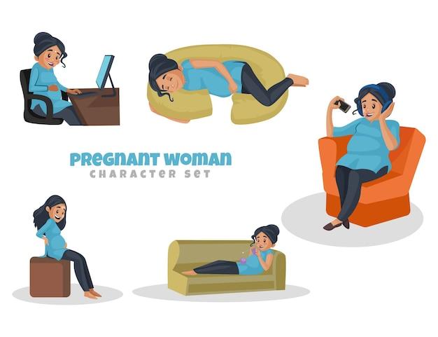Ilustração dos desenhos animados do conjunto de caracteres de mulher grávida