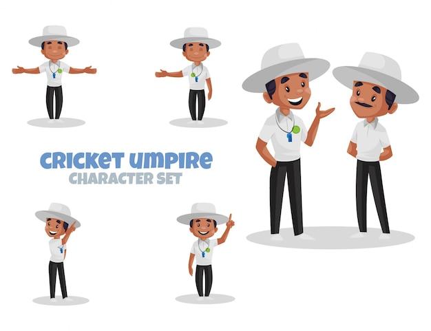 Ilustração dos desenhos animados do conjunto de caracteres do árbitro de críquete