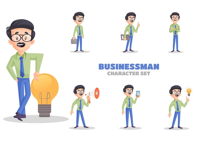 Ilustração dos desenhos animados do conjunto de caracteres do empresário