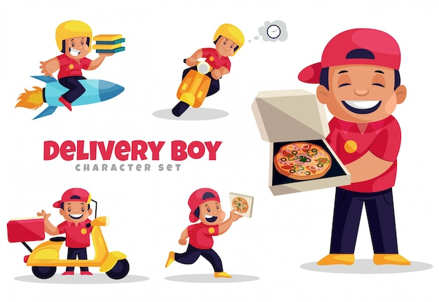 Ilustração dos desenhos animados do conjunto de caracteres do entregador