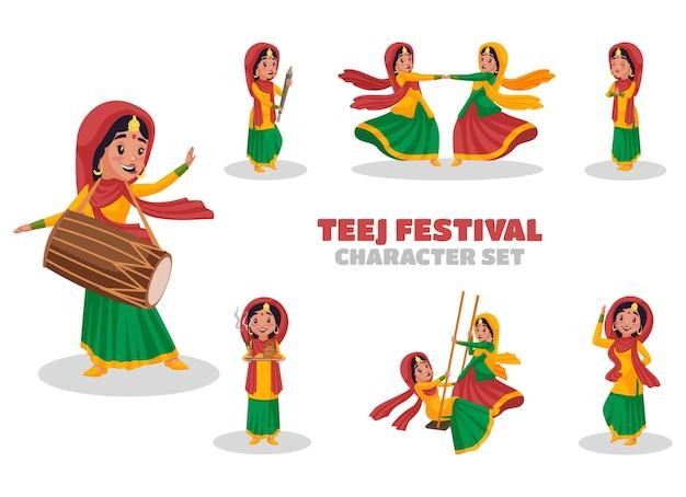 Ilustração dos desenhos animados do conjunto de caracteres do festival teej