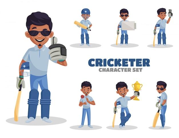 Ilustração dos desenhos animados do conjunto de caracteres do jogador de críquete
