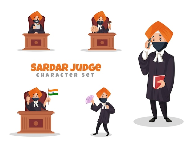 Ilustração dos desenhos animados do conjunto de caracteres do juiz sardar