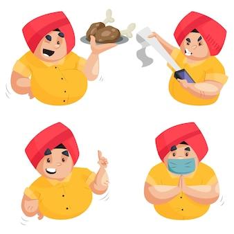 Ilustração dos desenhos animados do conjunto de caracteres do menino punjabi