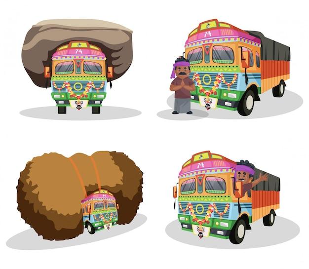 Ilustração dos desenhos animados do conjunto de caracteres do motorista de caminhão