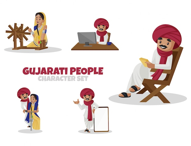 Ilustração dos desenhos animados do conjunto de caracteres do povo gujarati