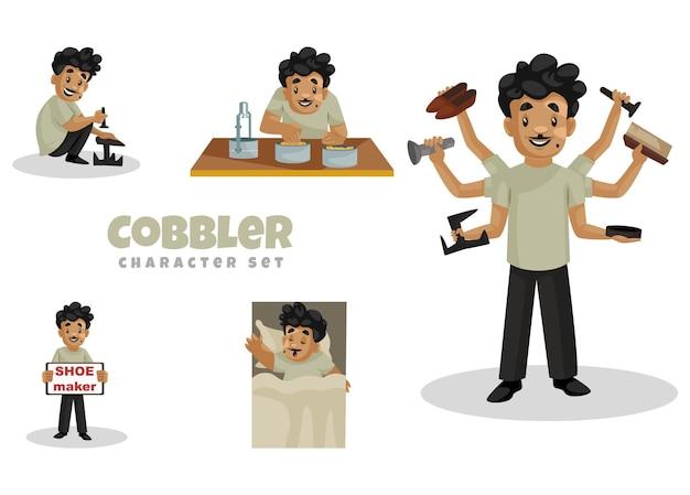 Ilustração dos desenhos animados do conjunto de caracteres do sapateiro
