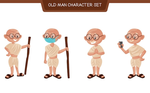Ilustração dos desenhos animados do conjunto de caracteres do velho