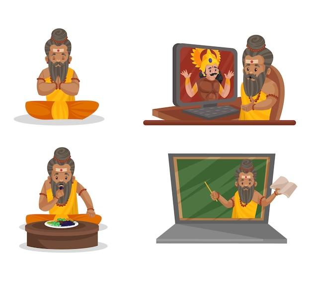 Ilustração dos desenhos animados do conjunto de caracteres dronacharya