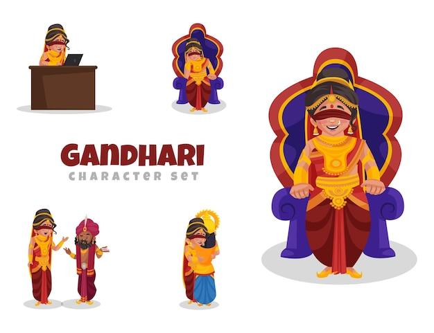 Ilustração dos desenhos animados do conjunto de caracteres gandhari