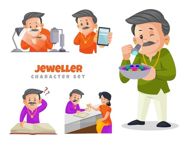 Ilustração dos desenhos animados do conjunto de caracteres joalheiro