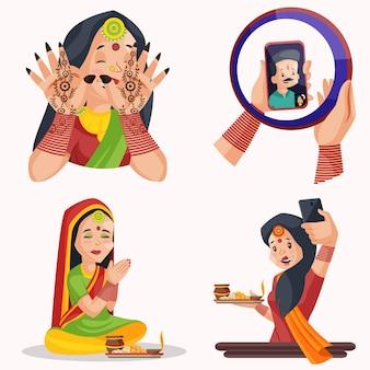 Ilustração dos desenhos animados do conjunto de caracteres karva chauth
