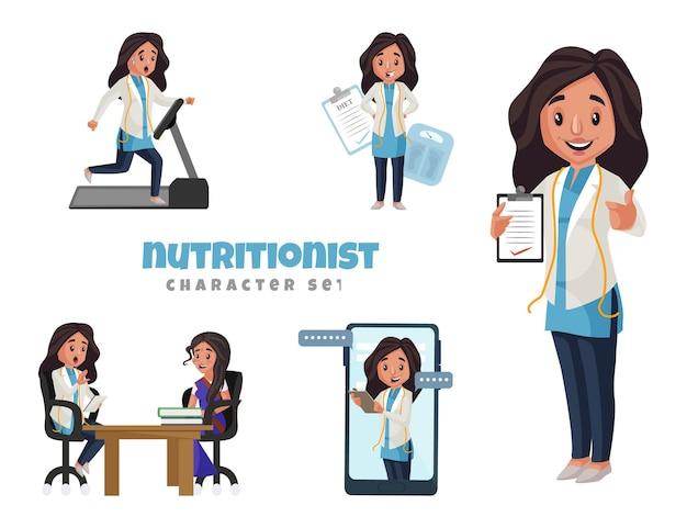 Ilustração dos desenhos animados do conjunto de caracteres nutricionista