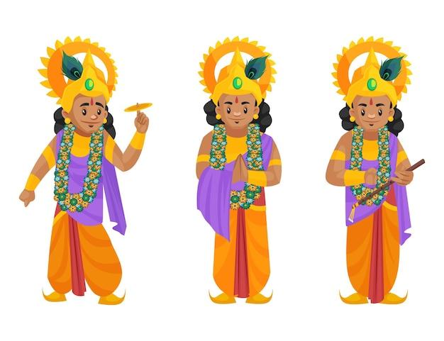 Ilustração dos desenhos animados do conjunto de caracteres shree krishna