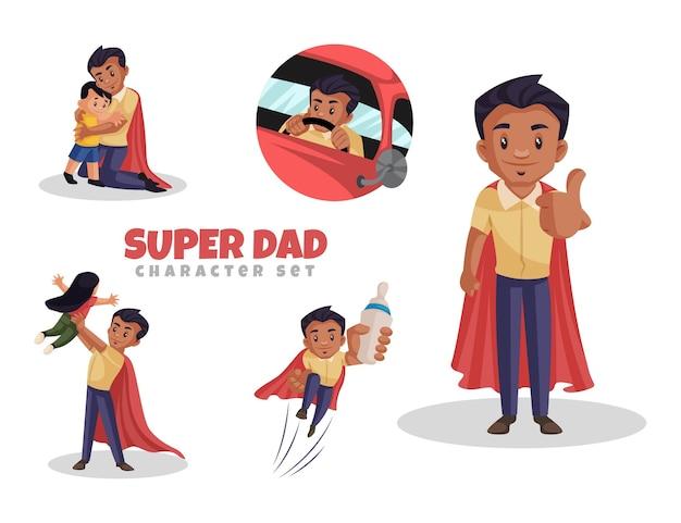 Ilustração dos desenhos animados do conjunto de caracteres super dad