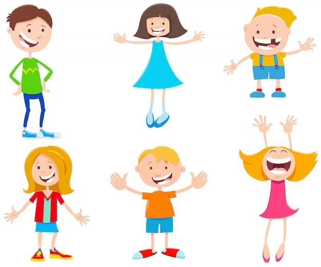 Ilustração dos desenhos animados do conjunto de crianças e adolescentes