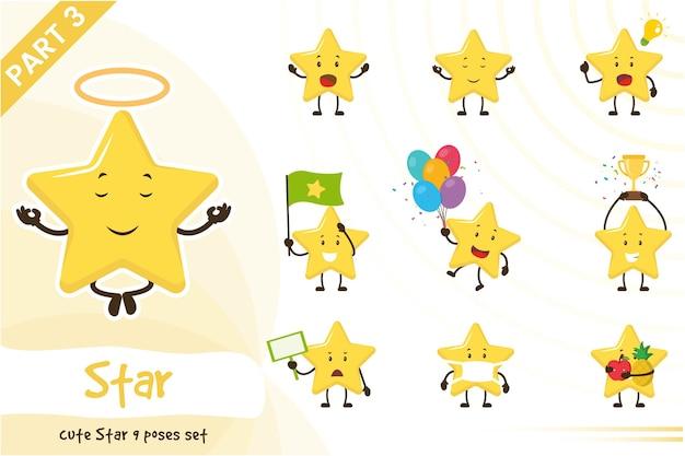 Ilustração dos desenhos animados do conjunto de estrelas fofas