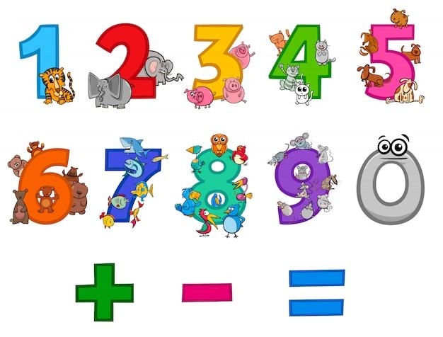 Ilustração dos desenhos animados do conjunto de números