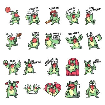 Ilustração dos desenhos animados do conjunto de papagaio.
