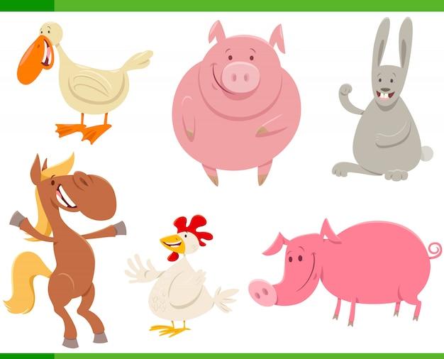 Ilustração dos desenhos animados do conjunto de personagens animais de fazenda