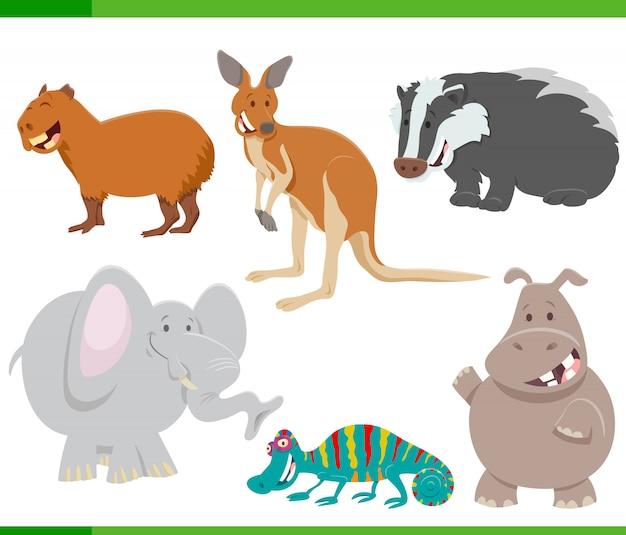 Ilustração dos desenhos animados do conjunto de personagens animais engraçados