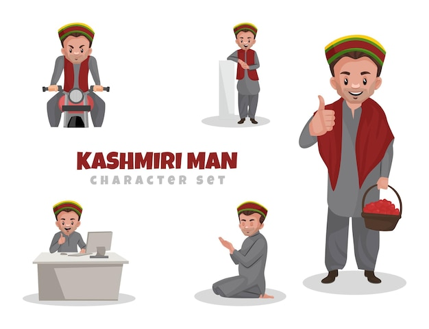 Ilustração dos desenhos animados do conjunto de personagens do homem da caxemira