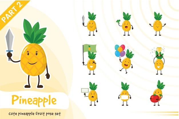 Ilustração dos desenhos animados do conjunto fofo de abacaxi