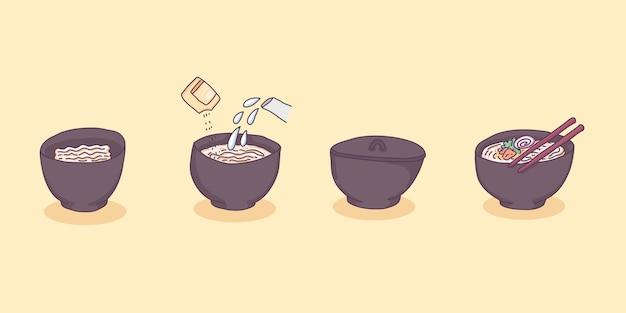 Ilustração dos desenhos animados do copo de macarrão