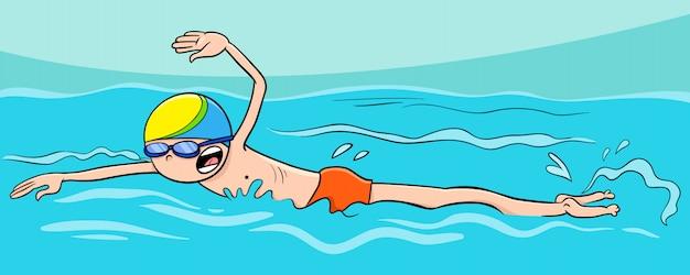 Ilustração dos desenhos animados do curso de rastreamento de natação de menino