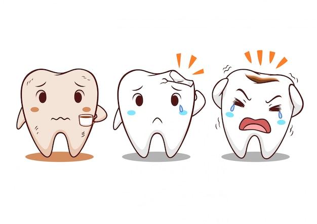 Ilustração dos desenhos animados do dente com problemas dos dentes.