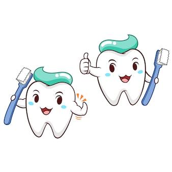 Ilustração dos desenhos animados do dente que guarda a escova de dentes.