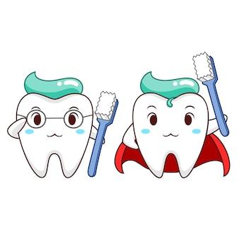 Ilustração dos desenhos animados do dente saudável do super-herói.