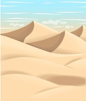 Ilustração dos desenhos animados do deserto. projeto de espaço de terreno plano. ilustração com areia e céu.