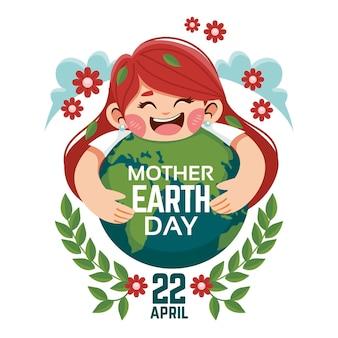 Ilustração dos desenhos animados do dia da mãe terra