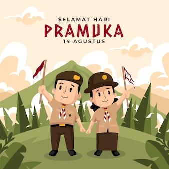 Ilustração dos desenhos animados do dia de pramuka