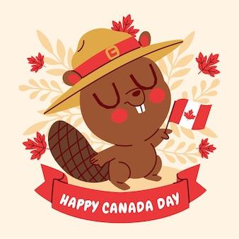 Ilustração dos desenhos animados do dia do canadá