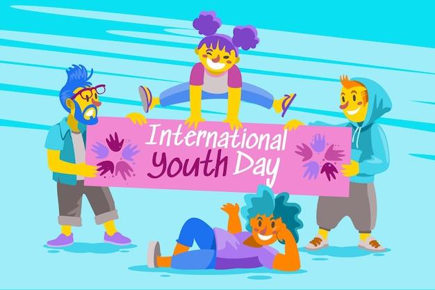 Ilustração dos desenhos animados do dia internacional da juventude