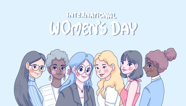 Ilustração dos desenhos animados do dia internacional da mulher.