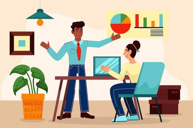 Ilustração dos desenhos animados do dia útil