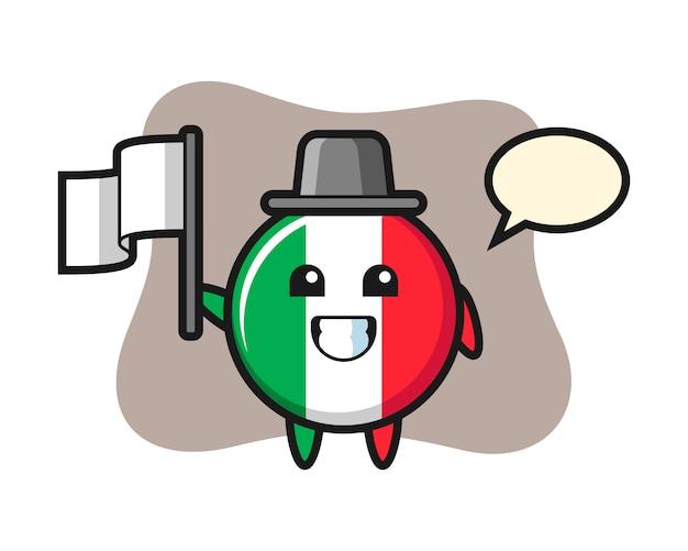 Ilustração dos desenhos animados do distintivo da bandeira da itália segurando uma bandeira, estilo fofo, adesivo, elemento de logotipo