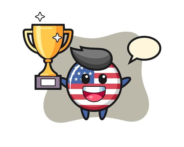 Ilustração dos desenhos animados do distintivo da bandeira dos estados unidos está feliz segurando o troféu de ouro