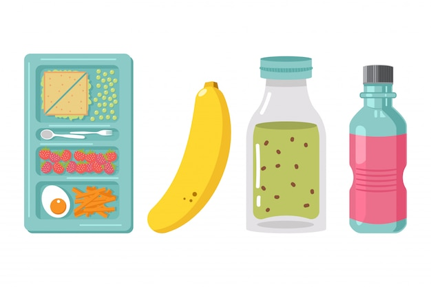 Ilustração dos desenhos animados do elemento da caixa de almoço escolar isolada em um fundo branco. comida saudável para as crianças.