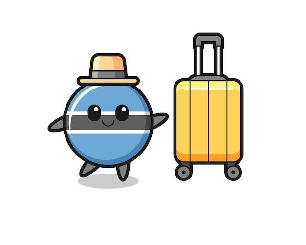 Ilustração dos desenhos animados do emblema da bandeira do botsuana com bagagem de férias, design de estilo fofo para camiseta, adesivo, elemento de logotipo