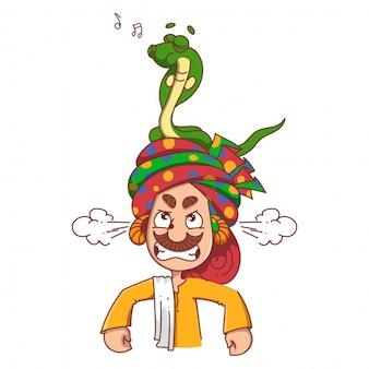 Ilustração dos desenhos animados do encantador de serpente.